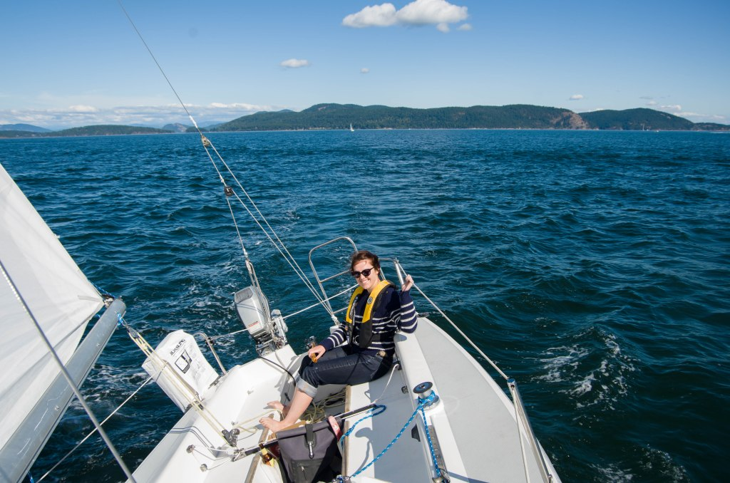 Paquita at the helm in Rosario Strait